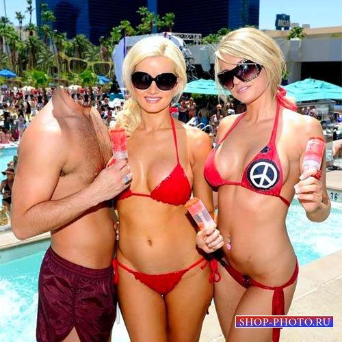 Шаблон для photoshop - Отдых с 2-мя блондинками