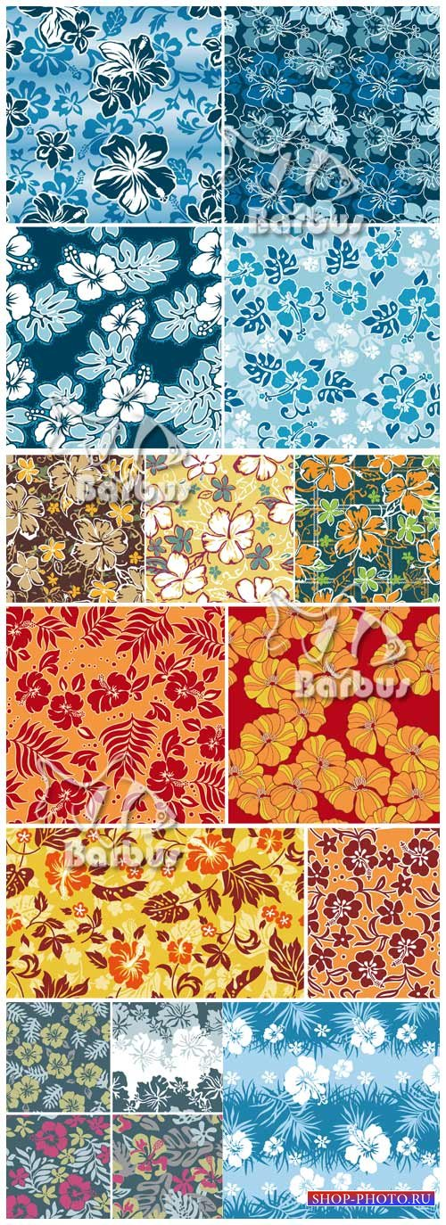 Seamless flower textures / Бесшовные цветочные текстуры - Гибискус