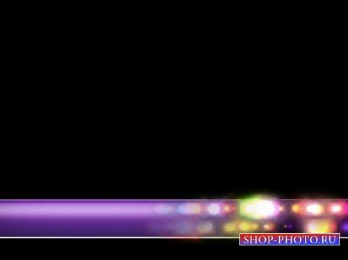 Футаж-подложка для текста с огоньками на фиолетовой полосе (alpha)
