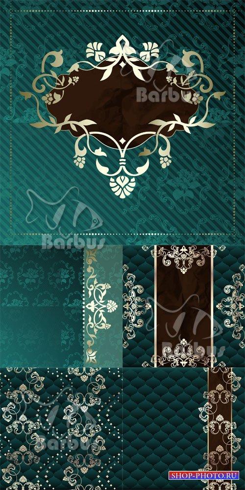 Dark green vintage banner and labels / Темно зеленые винтажные баннеры и лэ ...