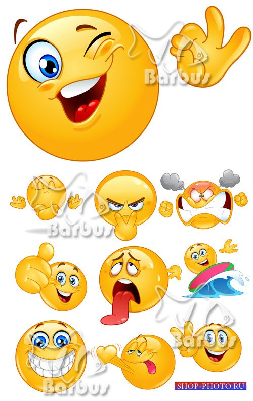 Emoticon showing / Веселые колобки - смайлики