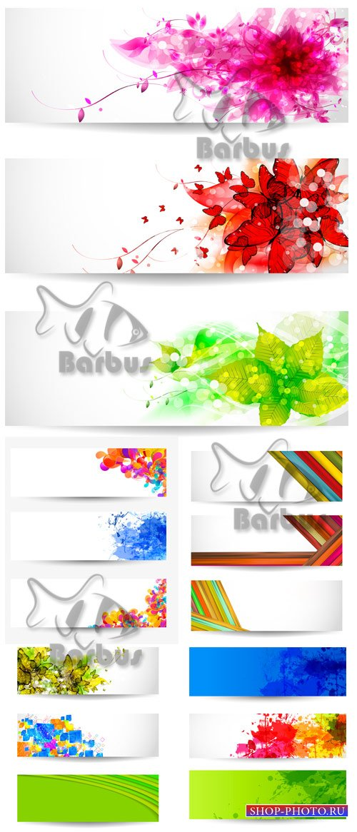 Banners with flowers, paint spots, tapes and 3D cubes / Баннеры с цветами,  ...