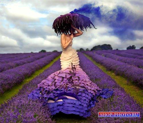 Шаблон для фото - Вы в великолепном лавандовом поле