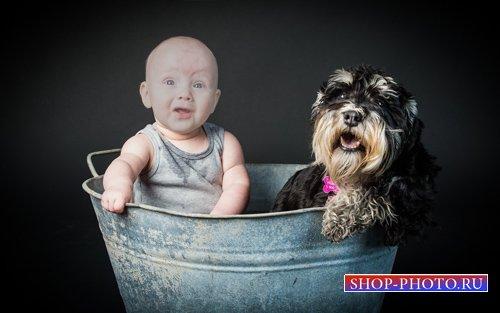 Шаблон для детей - Ребёнок и собачка в тазике