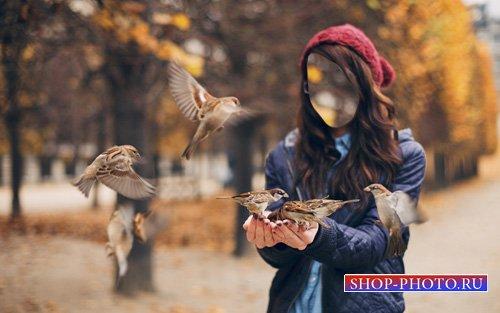 Шаблон для девушек - Девушка кормит воробушков
