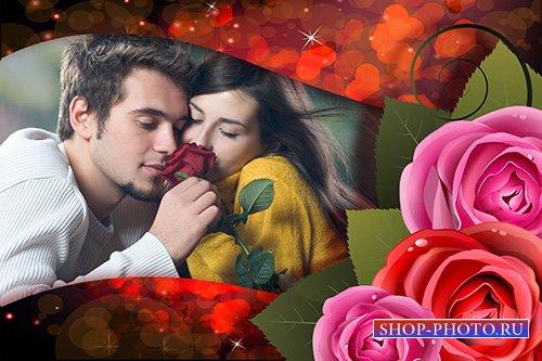 Фотошоп рамка с сердечками и три розы
