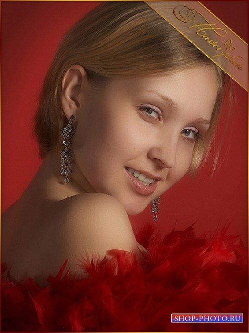 Женский шаблон для photoshop - Гламурные перья красные