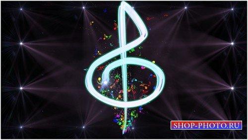 Футаж для музыкальных конкурсов - Скрипичный ключ с нотками