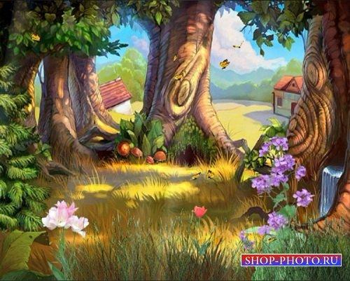 Детский футаж-фон Поляна среди дубов