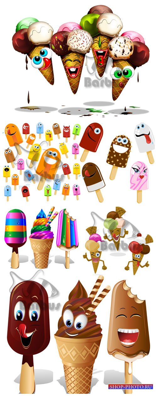 Cheerful ice cream - ice cream and an eskimo / Веселое мороженное  - пломби ...