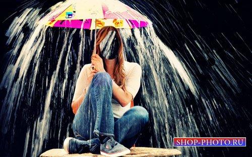 Шаблон для девушек - Девушка с зонтом