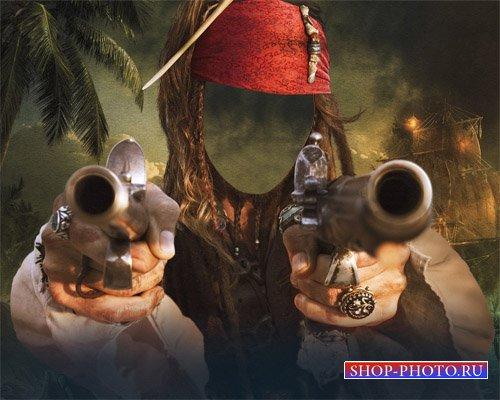 Шаблон для photoshop - Истинный разбойник с 2 пистолетами