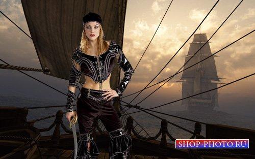 PSD шаблон - Сегодняшняя пиратка с мечом