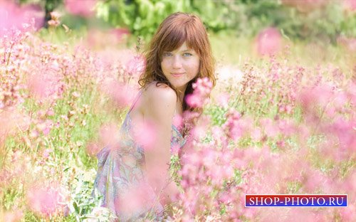 Шаблон для фотошоп - Среди розовых цветочков