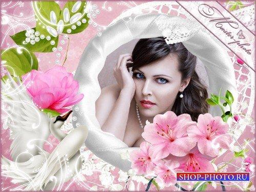 Романтическая рамка для фотошопа - Лебединая верность