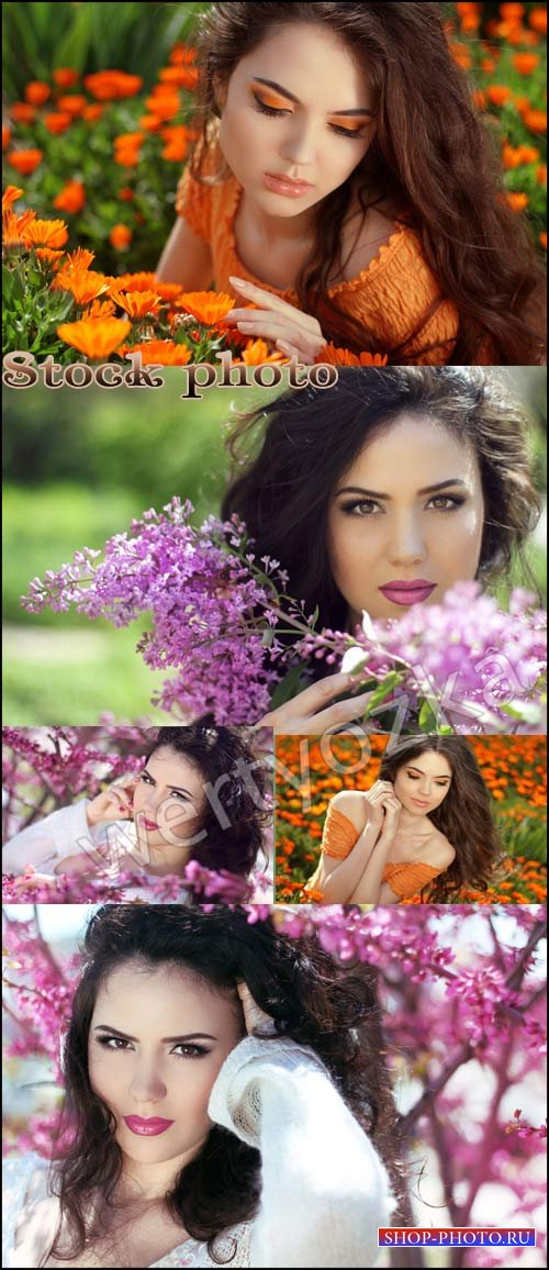 Красивые девушки и цветы / Beautiful girl and flowers - raster clipart