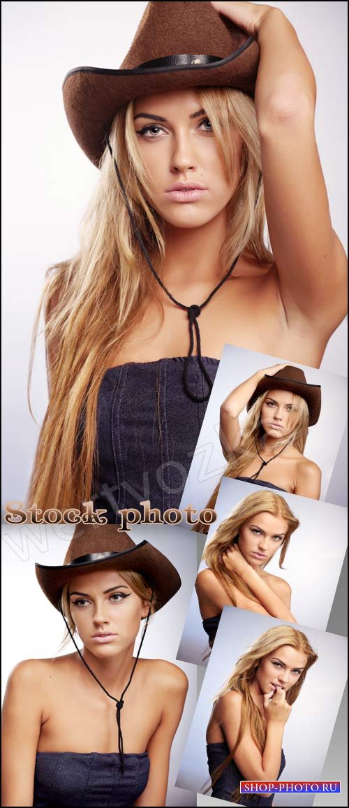 Девушка в ковбойской шляпе / Girl in a cowboy hat - Raster clipart