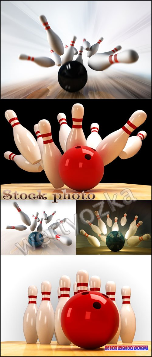 Боулинг / Bowling, sports game - Raster clipart
