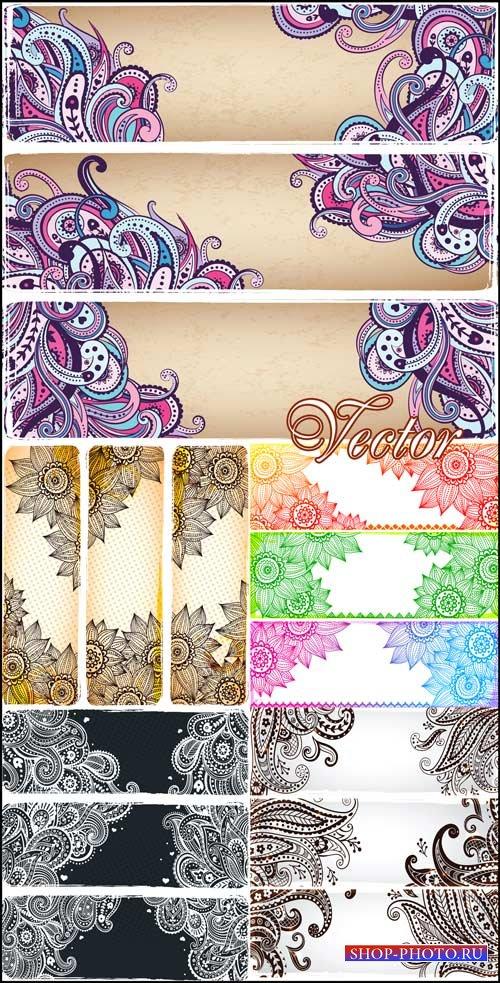 Баннеры с красивым цветочным орнаментом / Banners with floral ornaments