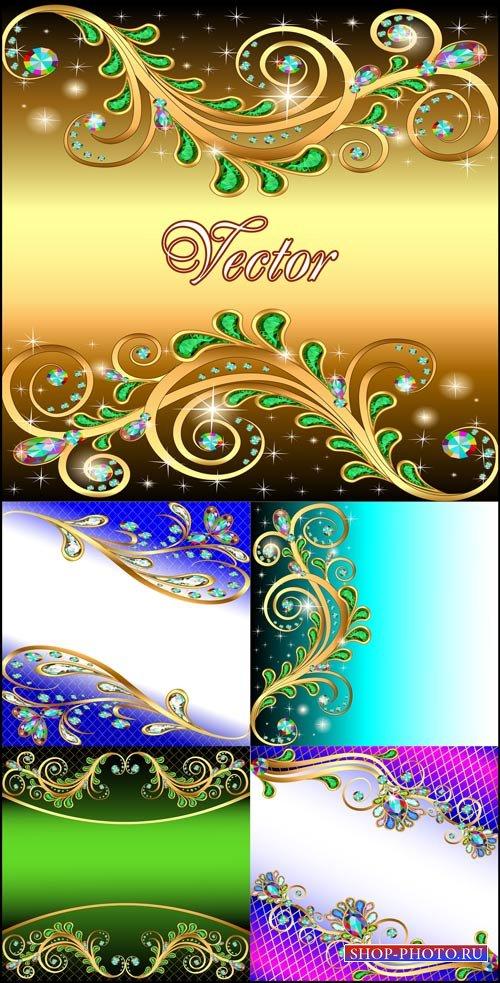 Фоны с цветами и драгоценными камнями / Background with floral design and p ...