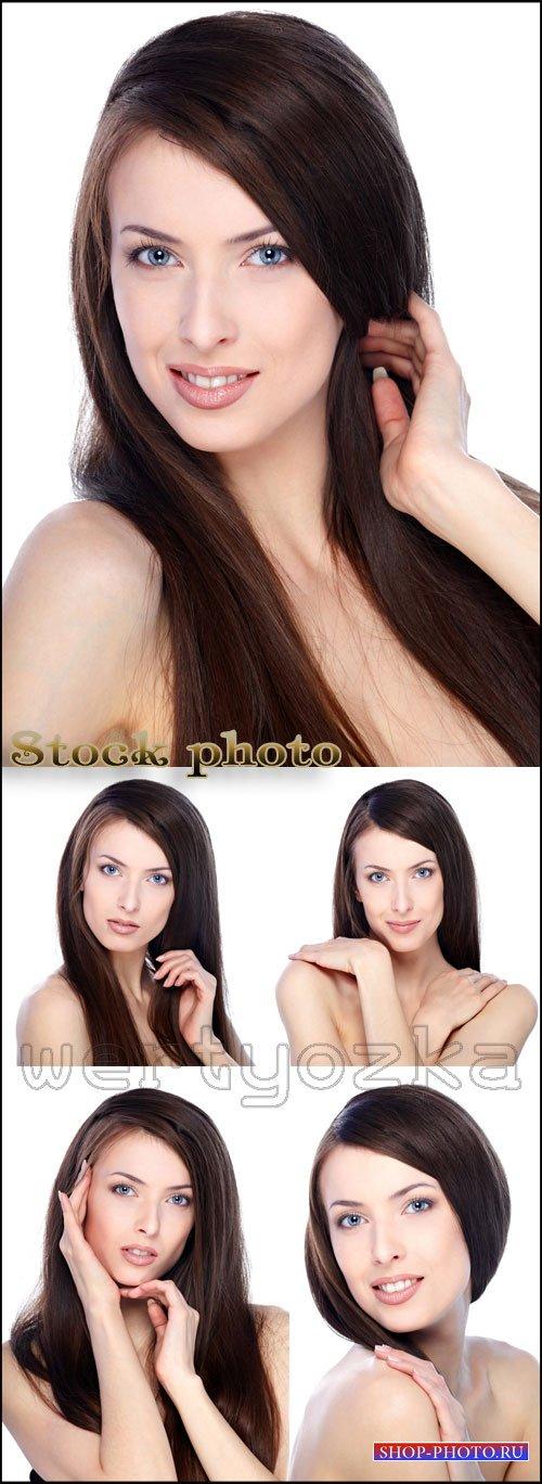Девушка с темными длинными волосами / Beautiful girl with long hair