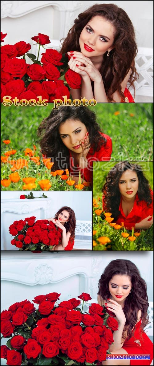 Девушка с красными розами / Girl with red roses, girls and flowers