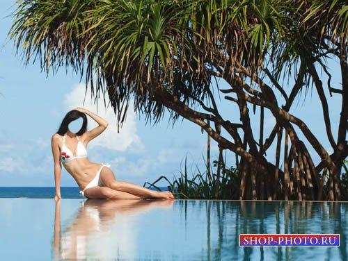 Шаблон для девушек - Пальмы и бассейн