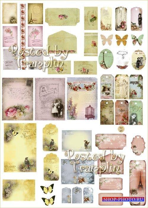 Винтажные этикетки, фоны, открытки, коллажи – Наборы