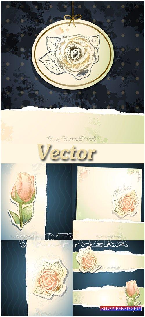 Винтажные фоны с розами / Vintage background with roses, vector