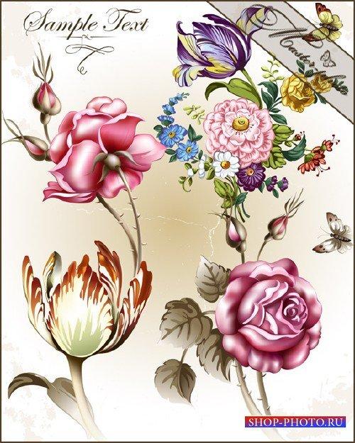 PSD исходник для фотошопа - Винтажные цветы
