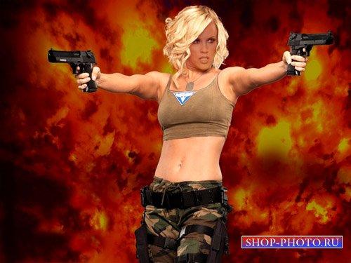 Крутая девушка с оружием - шаблон женский