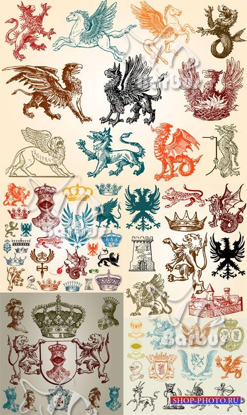 Heraldic animals and crowns / Геральдические животные и короны