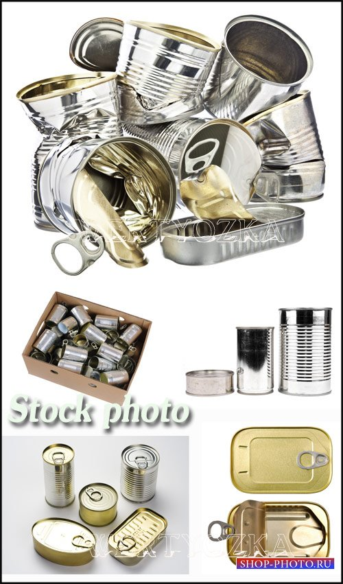 Консервные банки / Tin boxes, tin cans - Raster clipart
