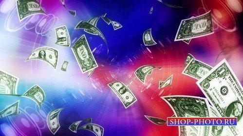 Футаж с летящими долларами