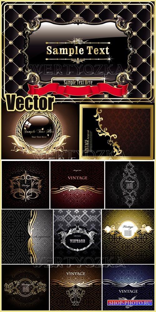 Винтажные векторные фоны с золотым декором / Vintage backgrounds, labels wi ...