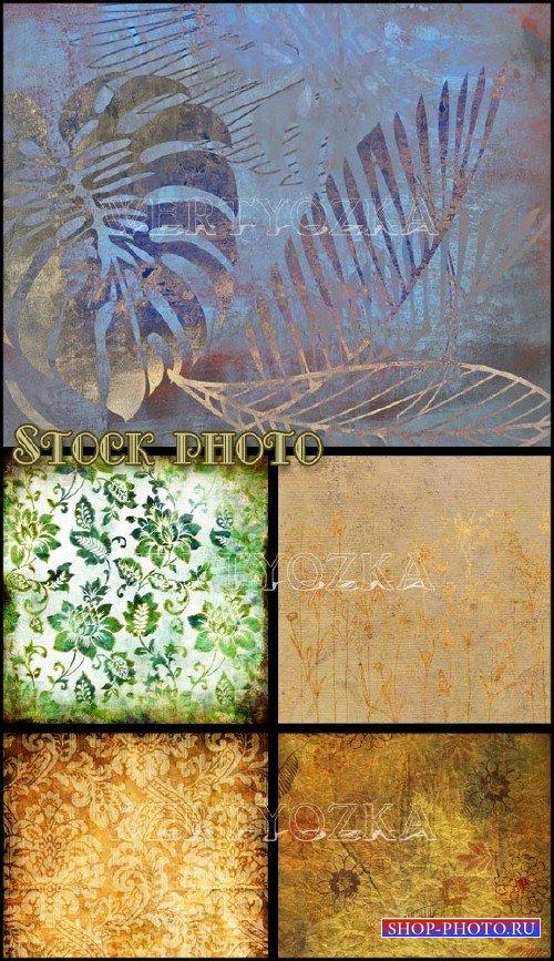 Винтажные растровые фоны с цветами и узорами / Vintage backgrounds, backgro ...