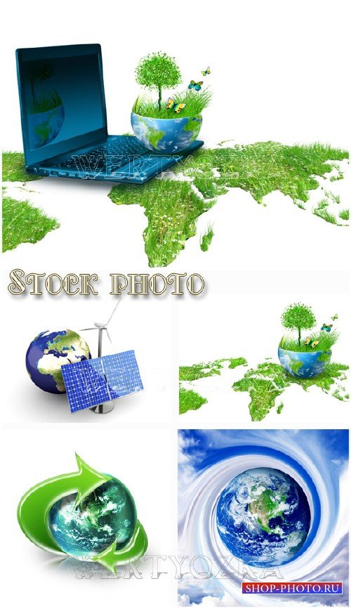 Зеленая планета / Green planet, creative, nature - Raster clipart