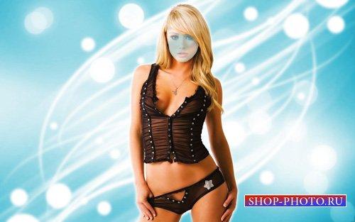 Шаблон для фотомонтажа - Стройная блондинка на голубом фоне