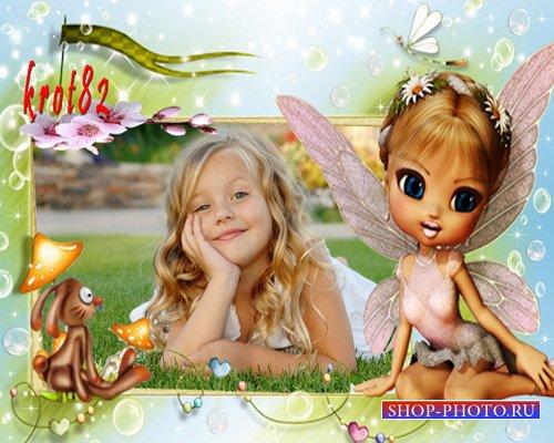 Фоторамка для девочек – Фея с зайчиком