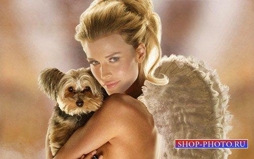 Шаблон для photoshop - Блондинка с крыльями ангела и собачкой