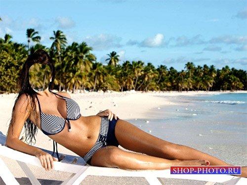 Шаблон для фотошопа - Девушка в купальнике у океана