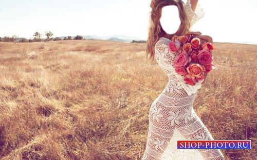 Шаблон для фотошоп - Девушка с букетом роз