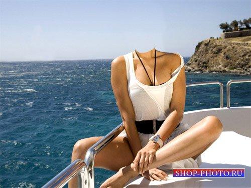 Шаблон женский - Прогулка на яхте по морю