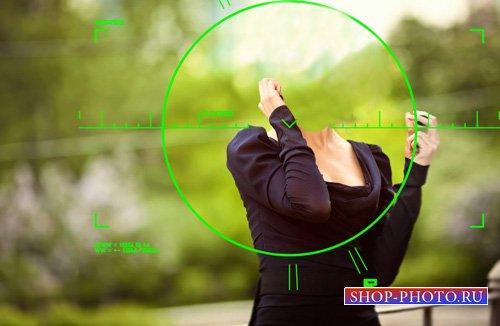 Шаблон для photoshop - Спецагент под прицелом