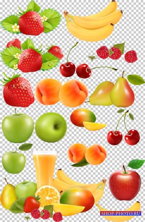 Клипарт PSD - Фрукты на прозрачном фоне яблоки клубника персик вишня малина