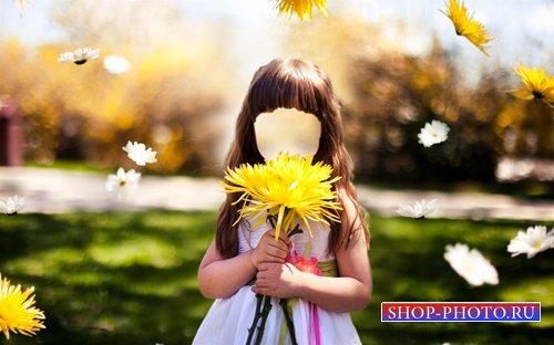 Шаблон для фотошопа  - Девочка с большим цветком