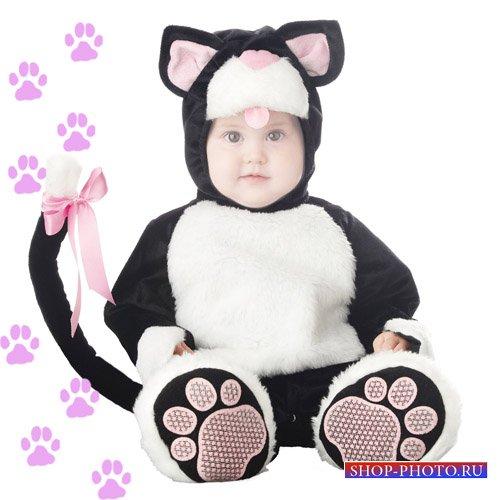 Шаблон для детей - В костюме котёнка