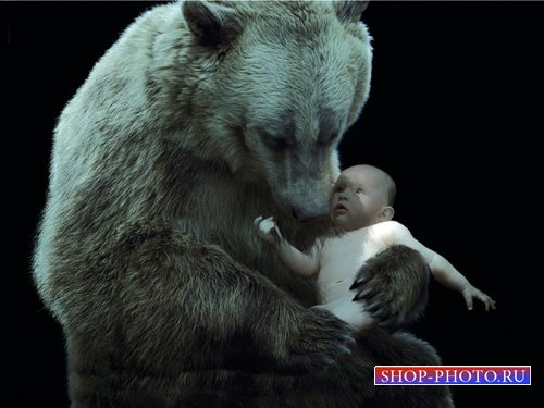 Шаблон для малышей - Малыш и медведь