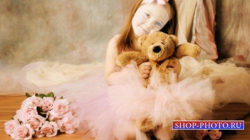 Шаблон для детей - Балерина с мишкой