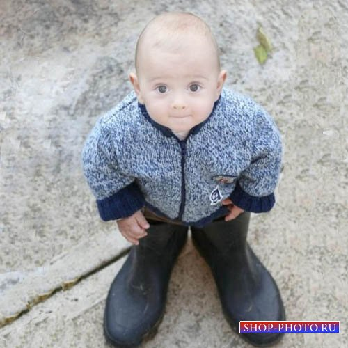 Шаблон для детей - Малыш в сапогах
